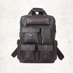 Image of Hot Selling Genuine Leather Backpack Macbook Carrier Multi Function Pack Laptop Bag--FREE SHIPPING