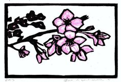 MATTED Cherry Blossoms Pink Blackand White by edamamepress on Etsy, $20.00