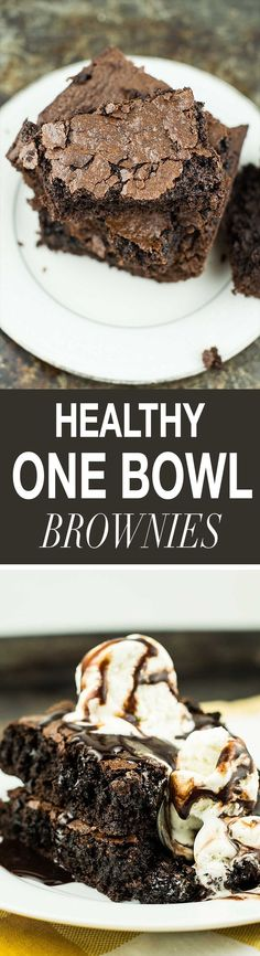 An easy recipe for healthy one bowl brownies made using coconut oil, cacao powder, olive oil, whole wheat pastry flour, and other healthy ingredients.