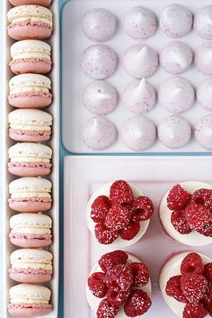 Raspberries and cream dessert table, including delightful looking macarons. Sweet Desserts, Sweet Recipes, Delicious Desserts, Dessert Recipes, Yummy Food, Dessert Table, Dessert Bars, Macarons, Breakfast And Brunch