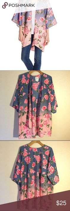 Billabong Kimono Billabong brand kimono. Blue to pink ombre with rose print. Small/Medium size. Excellent used condition Billabong Tops