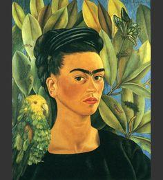 El 8 de Diciembre de 1940, mientras estaban en San Francisco, Frida y Diego se casaron de nuevo. Poco después, Frida recibió la noticia de que su padre, Guillermo Kahlo había muerto. Frida volvió a la casa familiar en Coyoacán, México, a vivir. Poco después de su regreso, pintó este autorretrato. En él está vestida de negro, observando luto por la muerte de su padre. En su hombro está su querido loro Bonito que también había muerto recientemente. No lleva joyas ni las usuales flores en el…