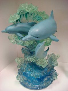 The Lassen Collection - Christian Riese Lassen Dolphin Art Figurine Musical Sculpture Maternal Love