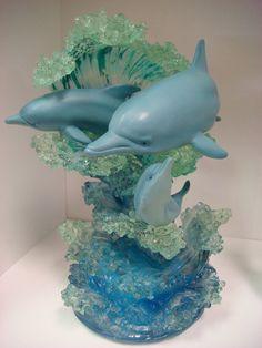 The Lassen Collection - Christian Riese Lassen Dolphin Art Figurine Musical Sculpture Maternal Love