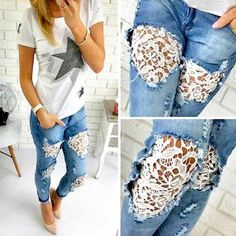 Inspiração: Calça Jeans com Renda Fashion Pants, Diy Fashion, Fashion Outfits, Jean Diy, Denim And Lace, Diy Lace Jeans, Diy Ripped Jeans, Denim Pants, Skinny Jeans
