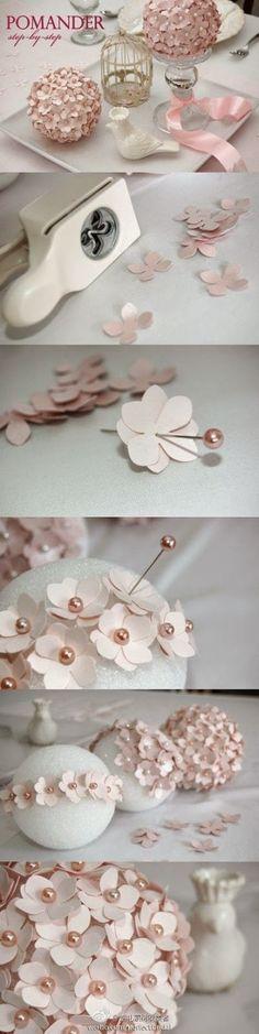 Paper Flower Pomander Tutorial