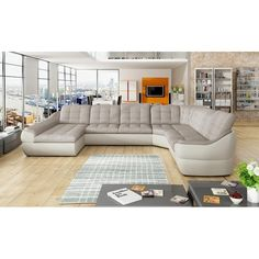 Orren Ellis This characteristic and gently rounded shape of stylish sectional invites you to relax after a long day. Sectional features fold-out bed and storage for bedding. Upholstery Colour: Grey & Grey, Orientation: Right Hand Facing Leather Reclining Sectional, Sectional Sleeper Sofa, U Shaped Sectional, Modern Sectional, Sofa Bed, Fold Out Beds, Sofas, Diana, Modern Rustic Interiors
