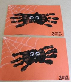 Fall Crafts for Kids - Hand Print Spider Halloween Craft