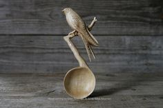 Hand Carved Oak Wood Swallow Serving Spoon / Art Wood Carving