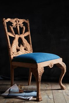 Handcarved Menagerie Rabbit Dining Chair