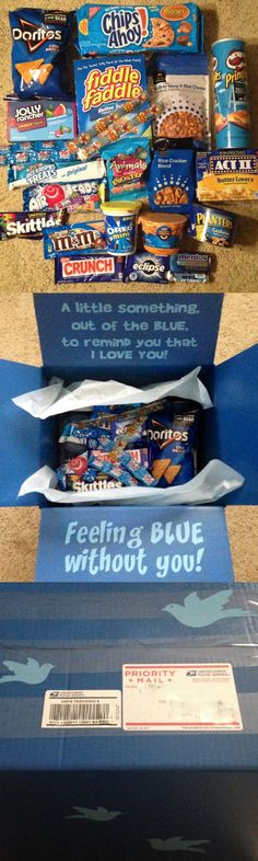 """Out of the Blue"" Care Package. Items included: BLUE THINGS Doritos, Chips Ahoy, Pringles, Fiddle Faddle, Jolly Ranchers, Trail Mix, Zots, Microwave Popcorn, Rice Krispie Treat, Airheads, Skittles, Frosted Animal Crakers, Oreo Minis, Rice Crackers, Nestle Crunch, Eclipse Gum, Mac & Cheese, Mentos, Cashews & Life Savors. I spray painted the boxes, added lettering to the inside flaps and little birds on the outside of the boxes."