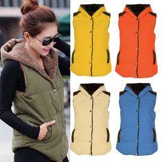 Womens Ladies Winter Fleece Warm Waistcoat Slim Sleeveless Hood Jacket Coat Tops