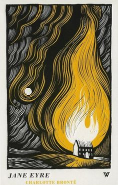 Jane Eyre woodcut illustration depicts novel's scene-burning of Rochester's house