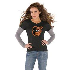 Baltimore Orioles Black Women's Primary Logo Tri Blend Long Sleeve Layered T-Shirt- by Alyssa Milano $34.99 http://www.fansedge.com/Baltimore-Orioles-Black-Womens-Primary-Logo-Tri-Blend-Long-Sleeve-Layered-T-Shirt--by-Alyssa-Milano-_-351246537_PD.html?social=pinterest_pfid66-05999