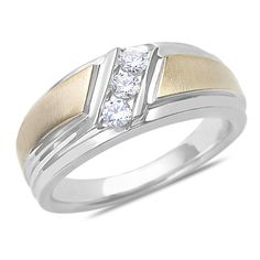 Ebay NissoniJewelry presents - Men's 1/3CT Diamond 3 Stone Ring 10k Two Tone Gold with Closed Back    Model Number:GRV34325-X077    http://www.ebay.com/itm/Men-s-1-3CT-Diamond-3-Stone-Ring-10k-Two-Tone-Gold-with-Closed-Back/321612151229