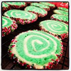 Pinterest project #8: Christmas swirl cookies...you could make these ANY color (original pin: confections)