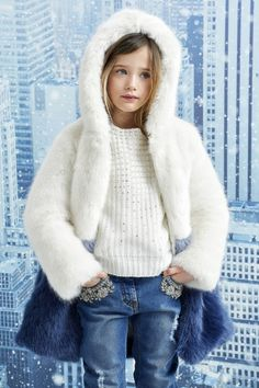 Presentation of the new Junior collection by Ermanno Scervino, the Italian haute couture. Dope Outfits, Winter Outfits, Kids Outfits, Fashion Kids, Girl Fashion, Jeans Fashion, White Faux Fur Coat, Fur Clothing, Junior Fashion