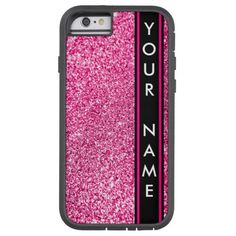 Vertical Bar Customized Glitter Pink Background Tough Xtreme iPhone 6 Case