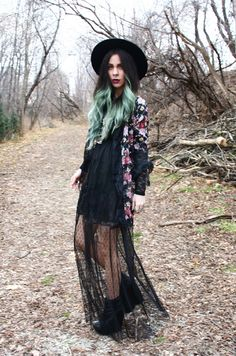 Bewolf Blog... #ofamuse #lacedress #maxi #floral #wedges #hat #turquoisehair #boho #bohemian #gypsy  www.bewolfclothing.com www.ofamuse.com