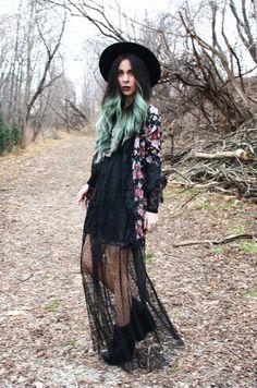 Bewolf Blog... #ofamuse #lacedress #maxi #floral #wedges #hat #turquoisehair #boho #bohemian #gypsy  www.bewolfclothing.com www.ofamuse.com