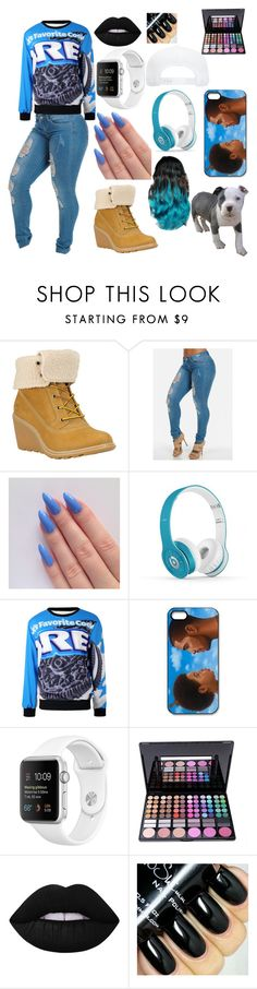 """stay fly"" by misstbae ❤ liked on Polyvore featuring Timberland, Beats by Dr. Dre and Lime Crime"