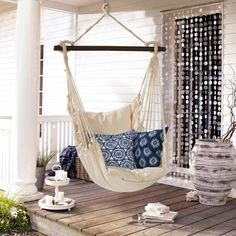 'Hanging Chair Leano' as seen on Loberon.de - Home Decor Ideas! Hanging Hammock Chair, Hanging Chairs, Interior Architecture, Interior Design, White Home Decor, White Houses, Handmade Home Decor, New Room, Home And Living