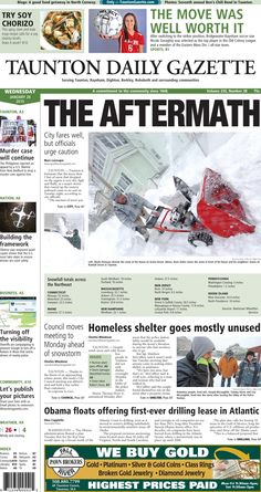 The front page of the Taunton Daily Gazette for Wednesday, Jan. 28, 2015.