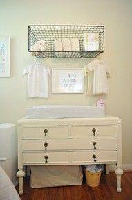 Old, refurbished dresser for changing table...organization racks - good idea!