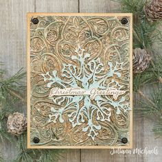 Christmas Gift Tags, Christmas Greeting Cards, Christmas Greetings, Holiday Cards, Tim Holtz, Snowflake Cards, 3d Texture, Embossed Cards, Bronze