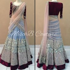 Serenity, lehenga saree by MischB Couture Bollywood Outfits, Pakistani Outfits, Indian Outfits, Indian Clothes, Pink Prom Dresses, Bridal Dresses, Nice Dresses, Stylish Dresses, Lehnga Dress