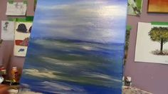 One step painting Ocean and waves Acrylic painting lesson..