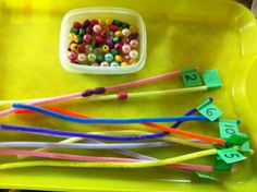 Have preschool kids put the right # of beads on the pipecleaner