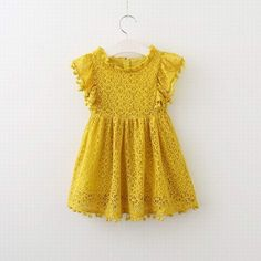 Lily Dress- toddler/girl yellow lace and pompom dress for spring/summer 2018