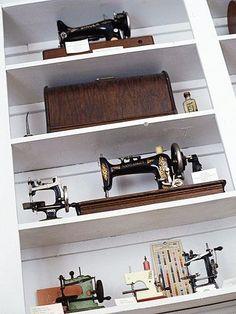 Wonderful display for vintage sewing machines.