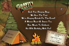 Gravity Falls invite for a Camping Party #camping #partyinvite