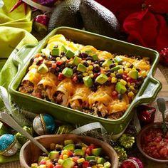 Chicken Enchiladas w/Black Bean, Avocado