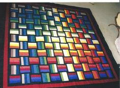 basket weave rainbow quilt