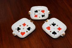 Vintage Poker Cards Ashtray Ceramic Set of Three 1960s by poetsy, $18.00