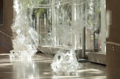 Karla Black's installation - she has used cellophane, sellotape, paint, body moisturisers and cosmetics