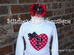 Custom Girls Valentine's Day Shirt and Hairbow by stitchinmamma