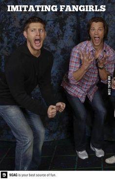 Jared and Jensen Imitating Supernatural Girl fans  2 Funny