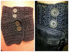 Adventures In Crochet Charcoal Gray Boot Cuffs with buttons