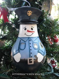 Snowman Cop Lightbulb Ornament handpainted by CyndiMacsNickKnacks