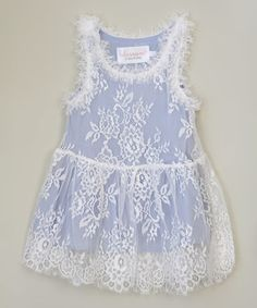 Look what I found on #zulily! Blue & White Lace Dress - Infant, Toddler & Girls #zulilyfinds