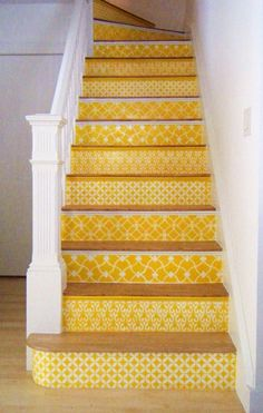 Our Moroccan stencils on stair risers in a sunny yellow. Carol Leonesio was inspired by the black/white stenciled stairs in this post. Spreading the stencil love! Stenciled Stairs, Painted Stairs, Painted Staircases, Painted Tiles, Painted Floors, Hand Painted, Yellow Stairs, Sweet Home, Moroccan Stencil