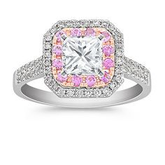 Modern, fashionable, and colorful! This ring features white gold, rose gold, diamonds, and pink sapphires.