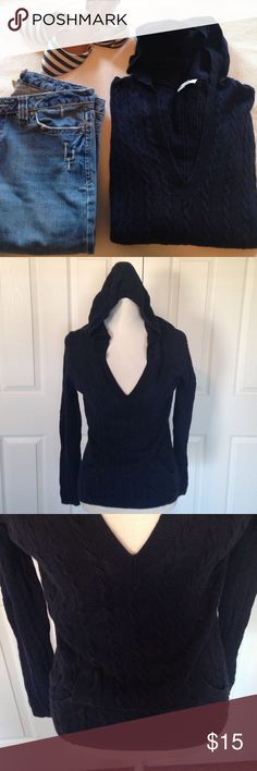"Loft Sweater Hoodie Navy patterned sweater pullover hoodie. Vneck. Two front pockets. Light fading and minimal pilling but overall it's still in good condition.  Measurements are Bust 19"" Length 24 1/2""  55% line 45% cotton LOFT Sweaters V-Necks"