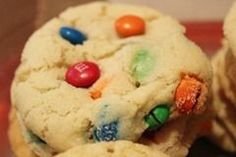 Melt in your mouth M & M Sugar Cookies. The secret is cream cheese in the dough! Ooooo and I love secrets:)