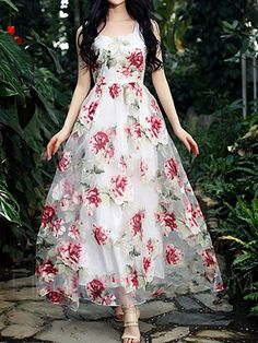 Cheap dress penny, Buy Quality dresses for wedding parties directly from China dress indian Suppliers: 2017 Organza Flowers Sleeveless Pleated White Dress 2017 Spring and Summer Elegant Vintage Dresses robe Maxi Dress Floral Print Gowns, Printed Gowns, Floral Maxi Dress, Chiffon Maxi Dress, Rose Dress, Floral Chiffon, Floral Prints, Plus Size Maxi Dresses, Cheap Dresses