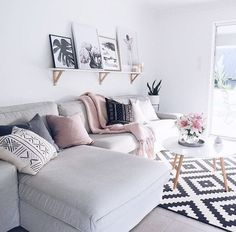 Pink and grey living room http://www.publicdesire.com/?utm_source=Pinterest&utm_medium=Social&utm_campaign=Campaign_Pinterest: